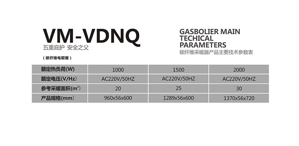 瑞马VM-VDNQ碳纤维电暖器参数